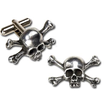 High quality, handmade, pewter skull and bones cufflinks.